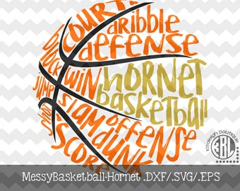 Messy Hornet Basketball design INSTANT DOWNLOAD in dxf/svg/eps for use with programs such as Silhouette Studio and Cricut Design Space