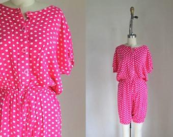 vintage 1980s romper - UNITED COLOR of Benetton pink polka dot playsuit / M-L