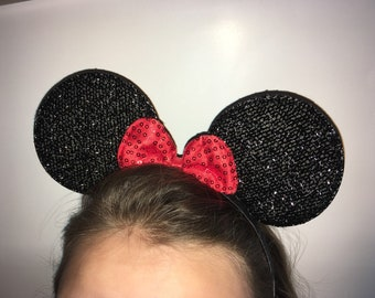 black mouse ears with red bow headband minnie mouse