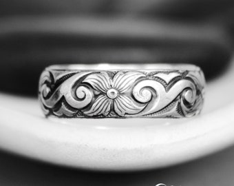 Scroll and Starburst Wedding Band - Sterling Silver Botanical Ring - Nature-Inspired Wedding Ring - Wide Band Ring - Personalized Posey Ring
