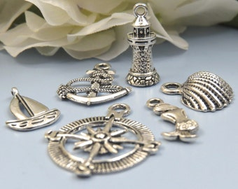 6 NAUTICAL Theme Charms -Assorted, Each One Different - Antique Silver - Lighthouse, Sailboat, Anchor, Mermaid, Shell, Compass - US Seller