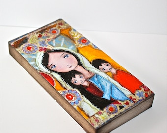 Mother with Two Sons -  Giclee print mounted on Wood (3 x 6 inches) Folk Art  by FLOR LARIOS