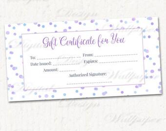 Confetti, Gift Certificate Download,Premade Gift Certificate Printable,Blank Gift Certificate,Confetti Gift Card,Last Minute Gift,Gift Card
