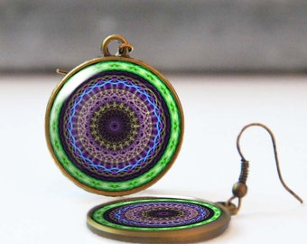 Fractal art earrings, Green and purple mandala, Photo earrings, Resin earrings, New age jewelry, Bohemian jewelry, 5058-3, Mother's day gift