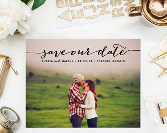 PRINTABLE Save the Date Postcard - Whimsical Handwritten Script Photo Save Our Date Postcard - Photo Save the Date Postcard