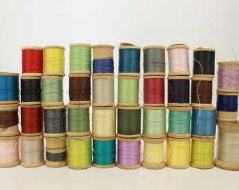 Lot of Vintage Thread on Wooden Spools, Wood Spools, Variety of Colors, Coats & Clark's, Lily, 36 Spools, Dragon, Belding Corticelli