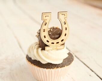 Horseshoe Cupcake Topper Lucky Horseshoe Wedding Decor Equestrian Bridal Shower Wedding Cupcake Toppers