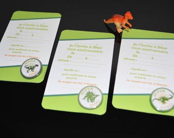 Set of 6 invitations dinosaurs and their badges