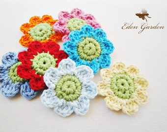 Set of 12 Small Crochet Flowers