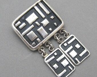 Vintage Sterling Modernist Dangle Pin Handmade Signed