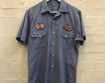 Rare Vintage 50s 60s Distressed SOHIO Station Bill Work Shirt Gas Station Pump Patchwork Grunge Workman