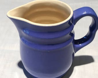 Blue Milk Pitcher Stoneware Made USA