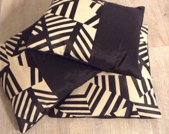 Trio 40cm square graphic and black cushion covers