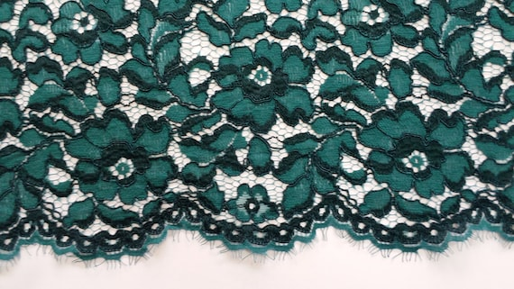 Green fabric cord, green lace, French lace, embroidered lace, Bridal lace