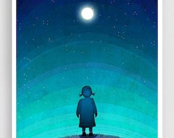Illustration - Moonlight - Art illustration Giclee Art print decor Moon Stars Night Turquoise Blue Home decor Nursery prints Kids wall art