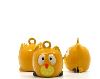 Barn Owls Brass and Enamel Bells - Package of 4