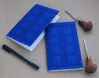 Blue Door Notebook lino print
