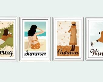 Set of four mini 6x4 inches seasons prints
