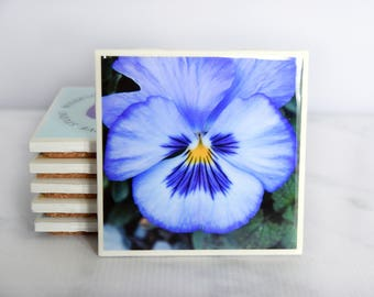Pansy Coasters – Purple Floral Decor – Floral Coasters – Decorative Coasters – Pansy Flower Art – Purple Coasters – Flower Gifts