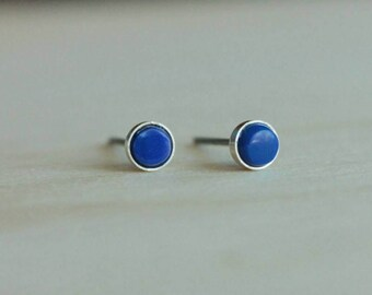 Lapis Lazuli Gemstone Titanium Earrings Studs / 5mm Cabochon Bezel Set / Earrings for Sensitive Ears