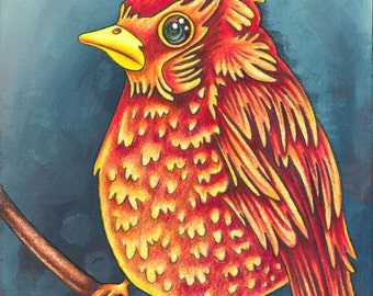 Beautiful Bird 1 - an 8 x 10 inch ART PRINT of a bright apple red and sunshine yellow bird who is a cheerful and friendly character