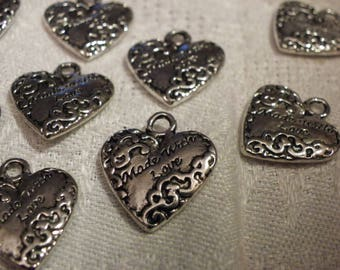 5 very domed silver hearts charm 18 mm x 19 mm