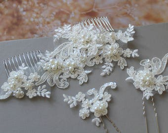 Bridal hair comb,  Wedding Hair comb, Pearl  Lace hair comb ,  Wedding hair piece ,  Bridal headpiece ,  Bridal hair accessories