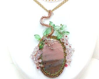 Fancy Jasper Necklace with Sakura branch
