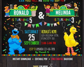 Sesame Street Birthday Invitation for Twins, Sesame Street Invitation, Sesame Street Party Invitation, Siblings Birthday Invitation Two Kids