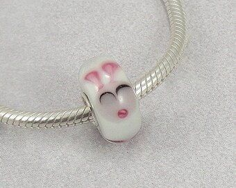 Bunny Rabbit Murano Lampwork Glass Bead - 925 Sterling Silver European Bead Charm