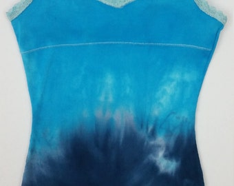 Upcycled Justice Camisole top sz. 12, Tie Dyed Cobalt & Turquoise