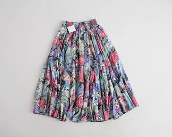 full floral skirt   90s floral skirt   long floral skirt