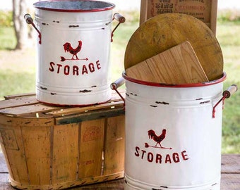 Set of Two White and Red Storage Tins with Handles, rooster