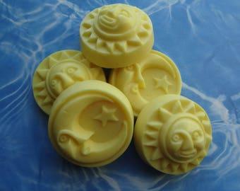 Energy Goats Milk Soap-Citrus Scent Handmade Guest Bar 5 Pc Set-Moons & Suns-Biodegradable Shrink Wrap