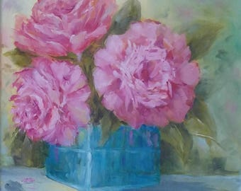 Pink Fluffy Peony Bouquet in Blue Vase, 8 X 8, Original Oil Painting, Mother's Day Gift