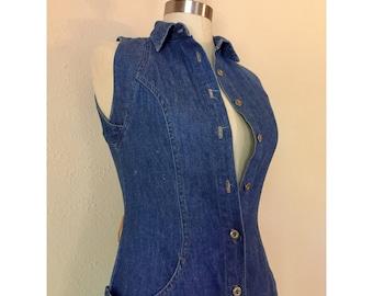 80s Sleeveless Denim Buttonfront Dress