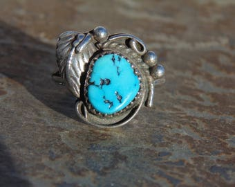 Southwestern Sterling Silver and Turquoise Feather Ring - Size 7.5