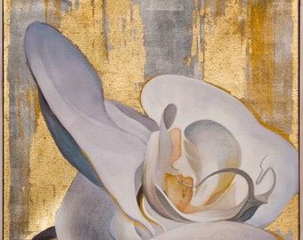 White orchid on gold leaf