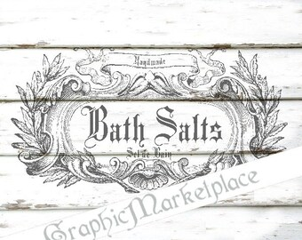 Bath Salts Instant Download Vintage Soap Soapmaking Transfer Burlap digital sheet graphic printable No. 1036