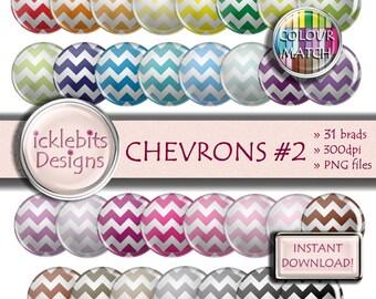 "Chevron Digital Elements Pack ~ ""CHEVRONS #2"" ~ 31 Flairs ~  Chevrons digital brads ~ CU Scrapbooking  ~ Rainbow ~ Design #112"