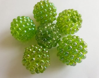 20mm Vintage Raspberry Beads Spring Green (6) NOS