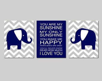 Navy Elephant Nursery Art Navy Elephant Nursery Decor Boy Elephant Nursery Wall Art Elephant Set of 3 Elephant Prints - CHOOSE YOUR COLORS