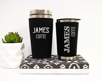 Travel Mug gift for him, custom text coffee tumbler, personalized gifts for men, insulated coffee travel cup, brother birthday gift idea