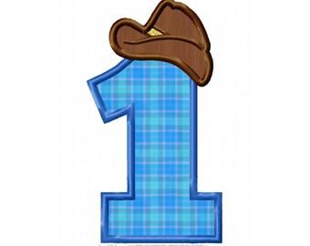 1st  Birthday Cowboy Applique Machine Embroidery DESIGN NO. 286