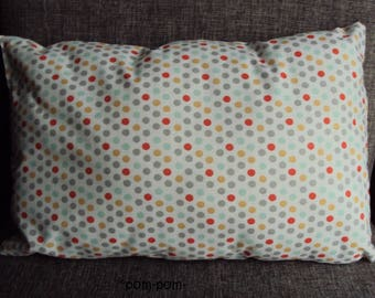 small rectangular cushion 33 x 22 couleursgris polka dots, orange, mustard yellow, green on white works very current