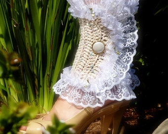 Victorian Style Leg Warmers - Crochet and Lace Spats in Confetti Colors - Kawaii Fashion Accessories