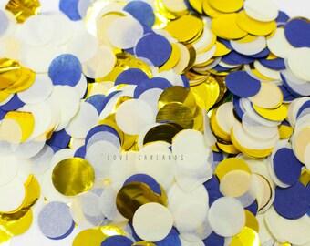 """Navy Ivory Gold Round Confetti, Navy Ivory Gold Circle Confetti, Wedding Confetti, 1"""" Round Confetti, Balloon Confetti, Baby Boy Confetti"""