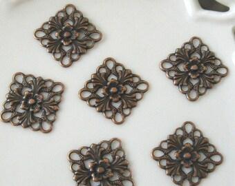 BULK LOT - Four Dozen (48) Antiqued Copper 16mm Fancy Square Drops Charms Findings - Save over 10 percent