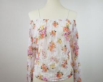 off shoulder floral printed lace top