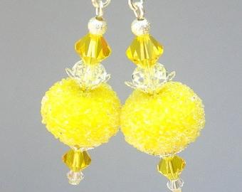 Lemon yellow earrings, artisan lampwork glass, bright yellow sugar and Swarovski crystal, Spring earrings